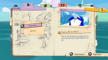 Le joli menu dans Adventure Time: Les Pirates de la Terre de Ooo
