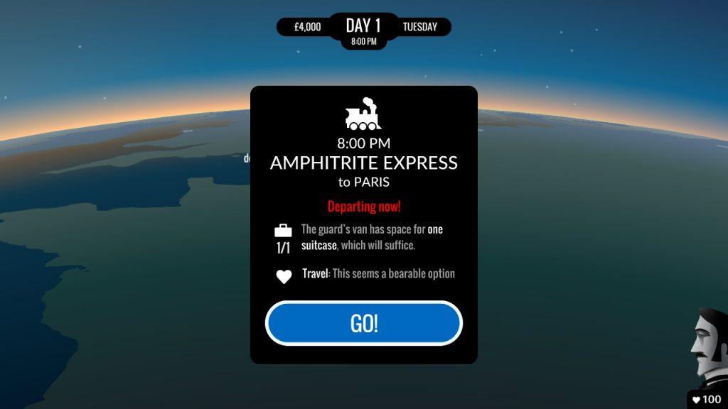 """Visuel de 80 DAYS sur Nintendo Switch, """"Amphitrite express vers Paris, départ immédiat"""""""