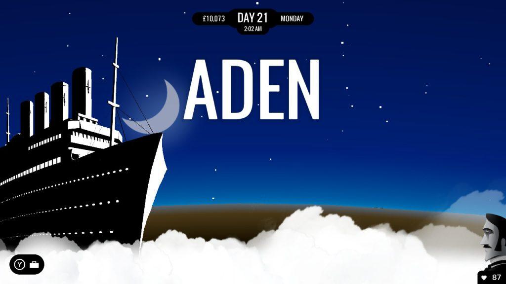 Visuel de 80 DAYS sur Nintendo Switch, un bateau devant la ville d'Aden