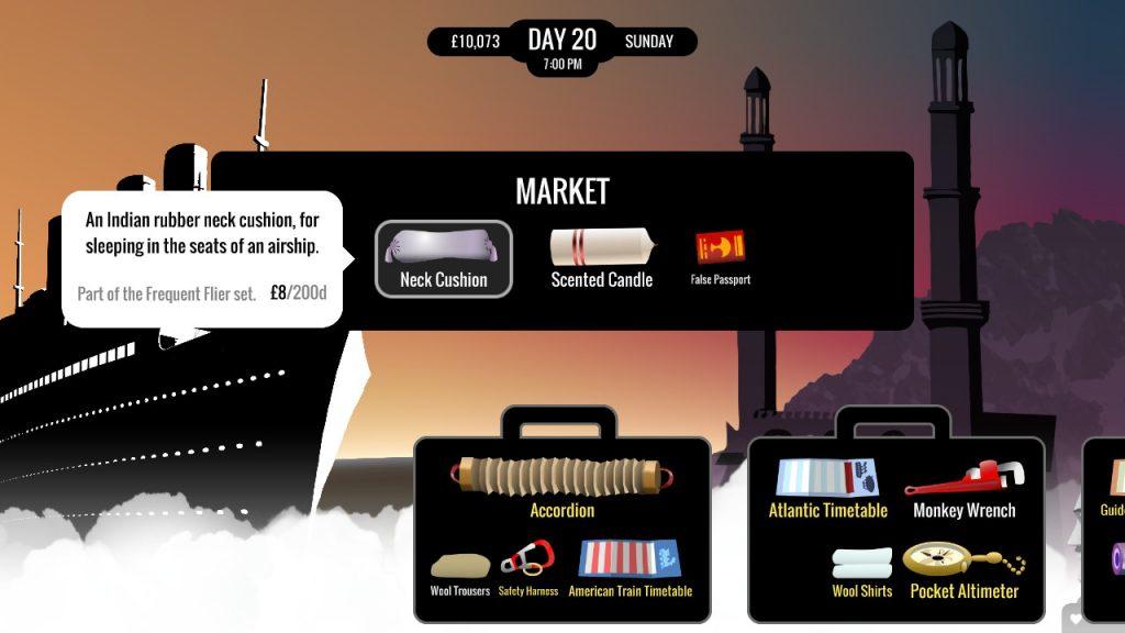 Visuel de 80 DAYS sur Nintendo Switch, représentant la fonctionnalité de marché du jeu. Plusieurs produits en vente devant des valises et leur contenu