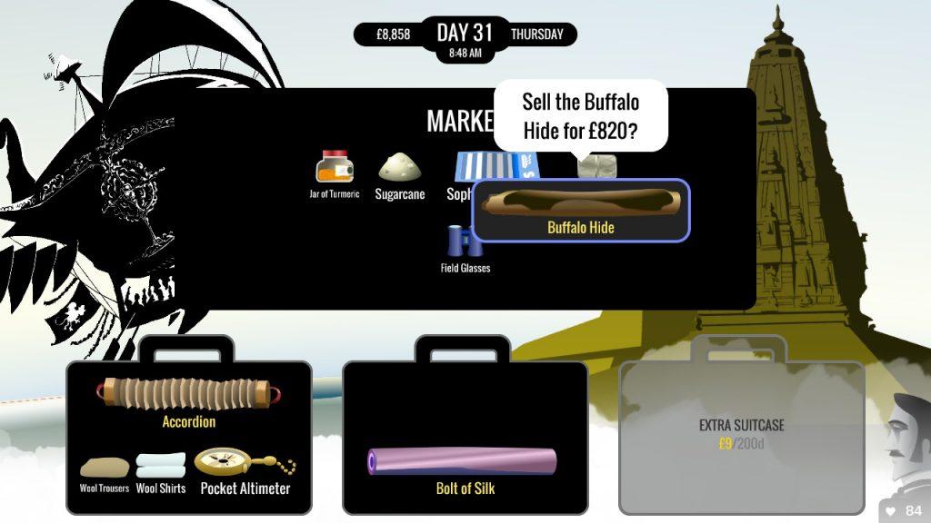 Visuel de 80 DAYS sur Nintendo Switch, plusieurs valises devant un magasin dans lequel est en train d'être vendu un article de l'inventaire du joueur