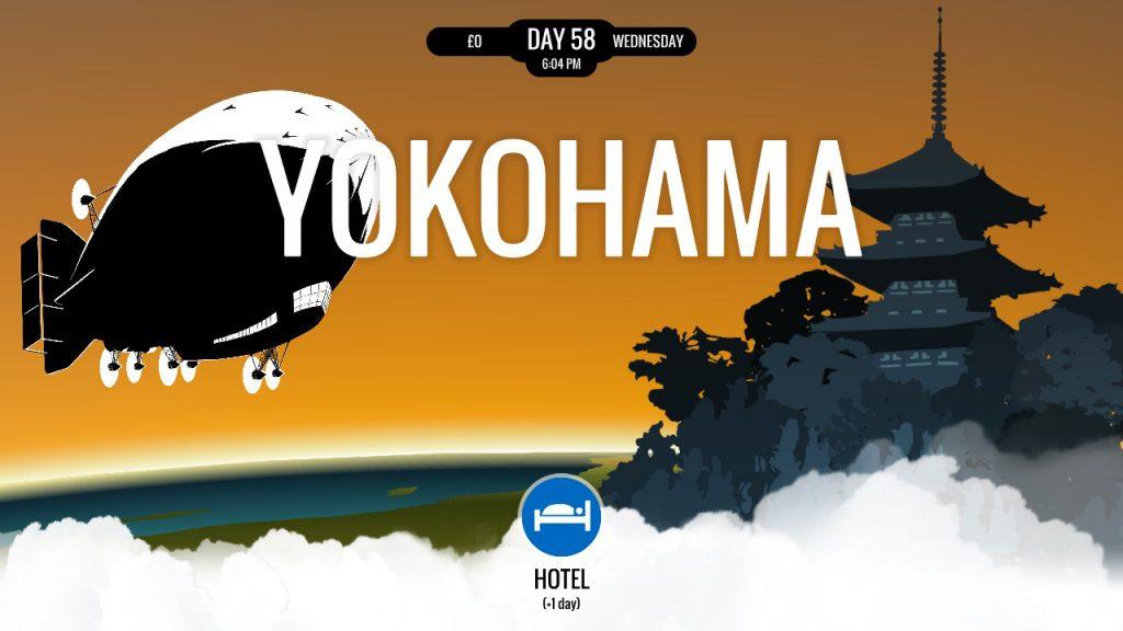 Visuel de 80 DAYS sur Nintendo Switch, un dirigeable devant la ville de Yokohama