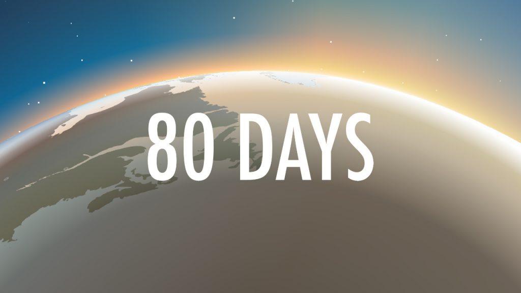 Visuel de 80 DAYS sur Nintendo Switch, le titre du jeu est affiché sur un fond de globe terrestre