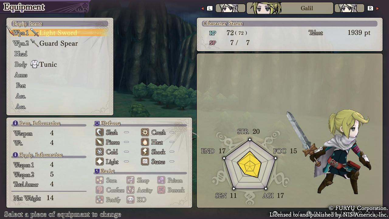 L'interface menu retravaillée dans The Alliance Alive HD Remastered