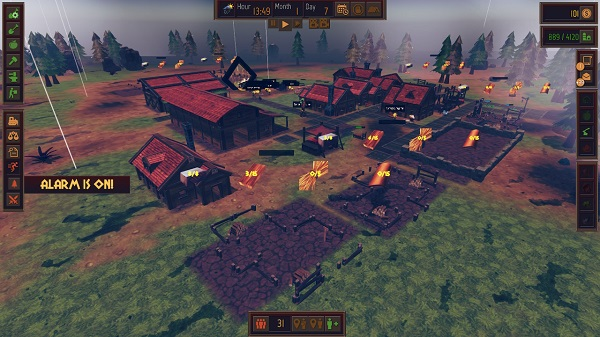 différents menus du jeu autour de l'image avec un village au centre