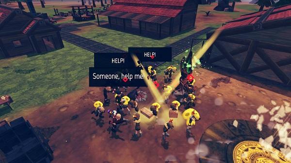 Combat de villageois au centre d'un village