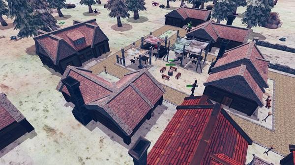 différents design de batiments qui forment un village