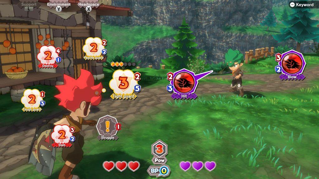 Combat contre Matock. Le protagoniste et l'assaillant sont face à face, et des bulles (idées) sont réparties autour de chacun d'eux. On peut voir une maison en arrière plan.