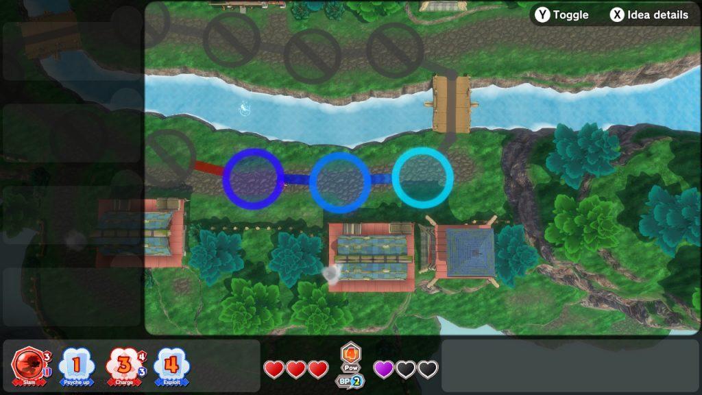 Vue du dessus du village avec des cercles évoquant un plateau de jeu. Représentation de la mécanique de déplacement lors des combats.