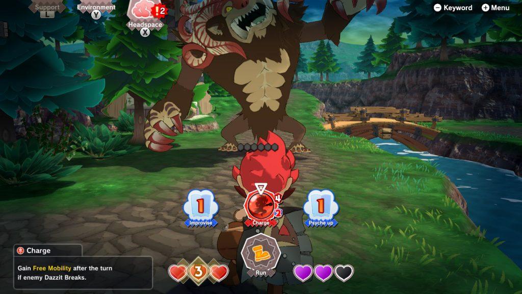 """Le protagoniste est face à un monstre gigantesque. Représentation du """"Tour chance"""" lors des combats."""