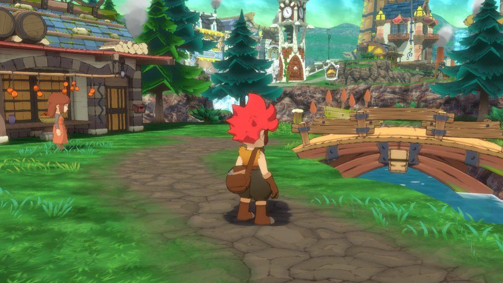 Le protagoniste, de dos, se trouve face à un pont au dessus d'une rivière. On peut voir à gauche du personnage une maison et un PNJ, et à l'arrière plan le reste du village.