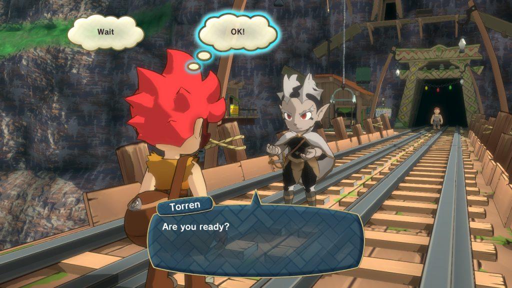 """Texte prononcé par Torren au protagoniste: """"Tu es prêt?"""". On peut voir la mine à l'arrière plan."""