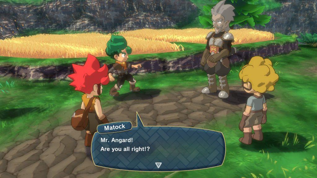 """Texte prononcé par Matock: """"Mr Angard! Tout va bien?"""". Mr Angard, un soldat du château, se trouve devant un champ avec les trois enfants que sont les protagonistes du jeu."""